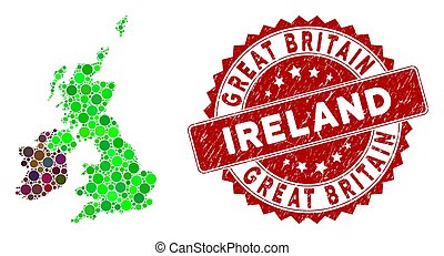 Mosaic Great Britain and Ireland Map and Grunge Round Stamp Seal