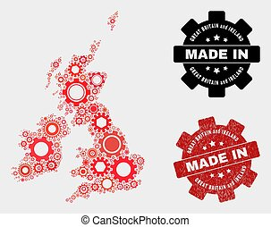 Mosaic Great Britain and Ireland Map of Gearwheel Elements and Grunge Stamp