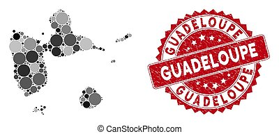 Mosaic Guadeloupe Map and Grunge Round Seal