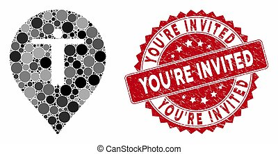 Mosaic Guest Marker with Grunge You'Re Invited Stamp
