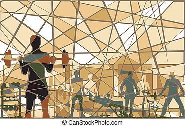 Mosaic gym - Editable vector batik mosaic design of people...