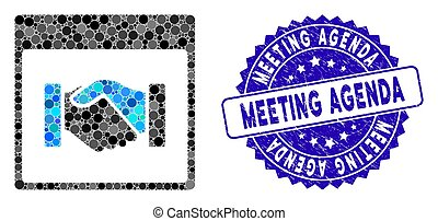 Mosaic Handshake Calendar Page Icon with Textured Meeting Agenda Stamp