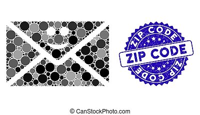 Mosaic Happy Mail Icon with Textured Zip Code Stamp