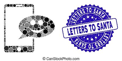 Mosaic Happy Smartphone Message Icon with Scratched Letters to Santa Stamp