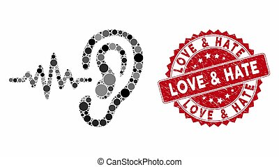 Mosaic Hearing Signal with Textured Love & Hate Stamp