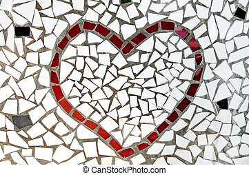 mosaic heart - a red heart made with mosaic bits