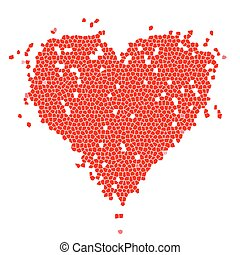 Mosaic heart shape red for your design