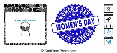 Mosaic Helicopter Calendar Page Icon with Textured Women'S Day Stamp