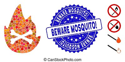 Mosaic Hellfire Flame Icon with Textured Beware Mosquito! Stamp