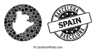 Mosaic Hole Circle Map of Barcelona Province and Scratched Stamp