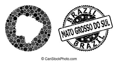 Mosaic Hole Circle Map of Mato Grosso Do Sul State and ...