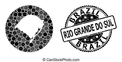 Mosaic Hole Circle Map of Rio Grande Do Sul State and ...