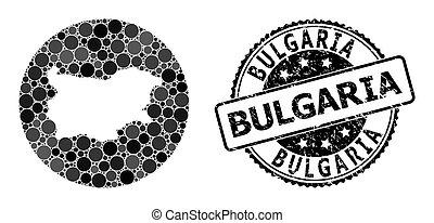 Mosaic Hole Round Map of Bulgaria and Watermark Stamp