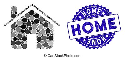 Mosaic Home Icon with Textured Home Stamp