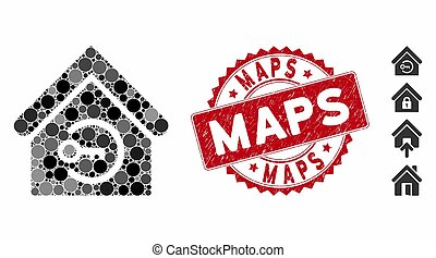 Mosaic Home Login Icon with Grunge Maps Stamp