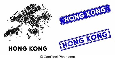 Mosaic Hong Kong Map and Grunge Rectangle Watermarks