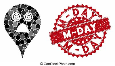 Mosaic Horror Smiley Map Marker with Distress M-Day Seal