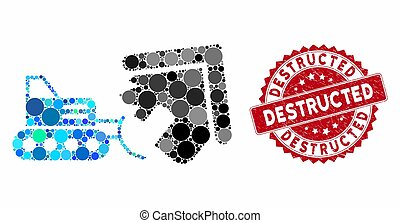 Mosaic House Demolition with Distress Destructed Stamp - ...