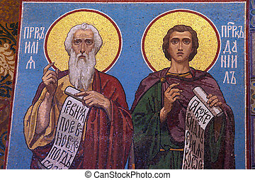 Mosaic icon in russian orthodox church, Petersburg