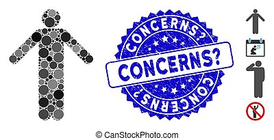 Collage ignorance pose icon and rubber stamp seal with Concerns? phrase. Mosaic vector is composed from ignorance pose icon and with randomized spheric items. Concerns? stamp seal uses blue color,