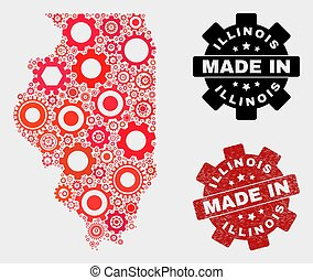 Mosaic Illinois State Map of Gearwheel Elements and Grunge Seal
