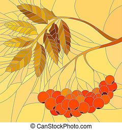 Mosaic illustration rowan branch. - Vector mosaic with large...