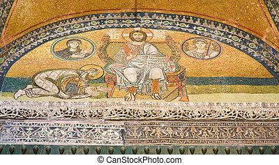 Mosaic image. Emperor Leo VI kneeling before Jesus Christ....