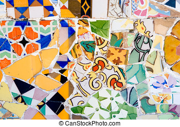 Mosaic in Antoni Gaudi Parc Guell, Barcelona - Colorful...