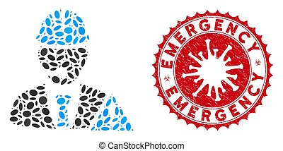 Mosaic Industrial Emergency Operator Icon with Coronavirus Scratched Emergency Stamp