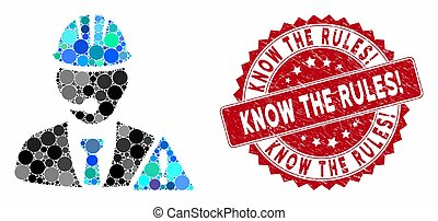 Mosaic Industrial Emergency Operator with Scratched Know the Rules! Stamp