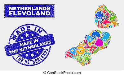 Mosaic Industrial Flevoland Province Map and Distress Made in the Netherlands Stamp Seal