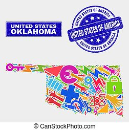 Mosaic Industrial Oklahoma State Map and Distress United States of America Stamp Seal