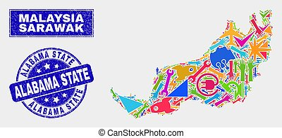 Mosaic Industrial Sarawak State Map and Scratched Alabama State Stamp