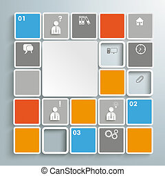 Mosaic Infographic PiAd - Colored rectangles on the grey...