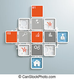 Mosaic Infographic Trading Cross PiAd - Colored rectangles...
