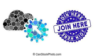 Mosaic integration icon and grunge stamp watermark with Join Here text. Mosaic vector is created with integration pictogram and with scattered circle elements. Join Here stamp seal uses blue color,