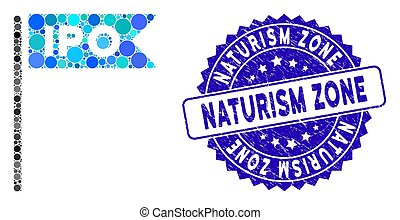 Mosaic IPO Flag Icon with Distress Naturism Zone Stamp