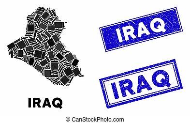 Mosaic Iraq Map and Distress Rectangle Watermarks