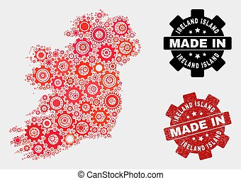 Mosaic Ireland Island Map of Cogwheel Items and Grunge Stamp
