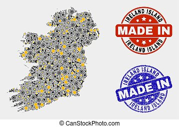 Mosaic Ireland Island Map of Industry Items and Made In Grunge Seal