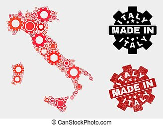 Mosaic Italy Map of Gear Elements and Grunge Stamp
