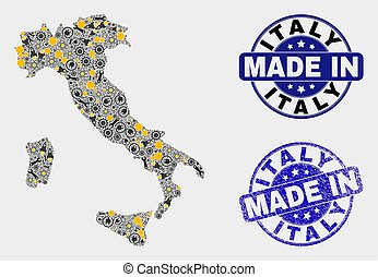 Mosaic Italy Map of Production Elements and Made In Grunge Stamp