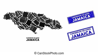 Mosaic Jamaica Map and Scratched Rectangle Stamp Seals