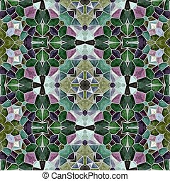 mosaic kaleidoscope seamless pattern texture background - emerald green and purple colored with gray grout