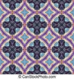 mosaic kaleidoscope seamless pattern texture background with crisis and rings - blue and purple colored