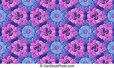 Mosaic kaleidoscopic seamless loop - Glass mosaic...