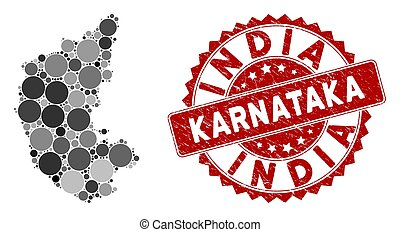 Mosaic Karnataka State Map and Distress Round Stamp