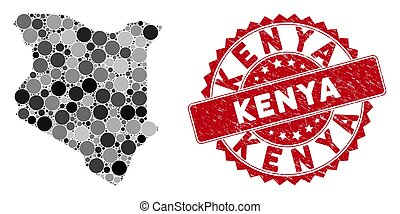 Mosaic Kenya Map and Distress Round Watermark