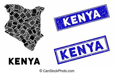 Mosaic Kenya Map and Scratched Rectangle Stamps