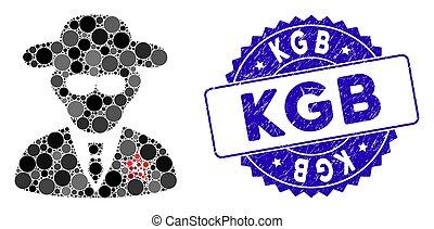Mosaic KGB Spy Icon with Distress KGB Seal